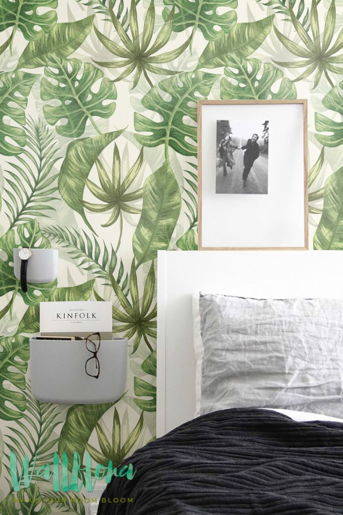 Transform any room in your home into a Hawaiian paradise with this adhesive wallpaper! This vinyl wallpaper features a bright and tropical print of exotic green