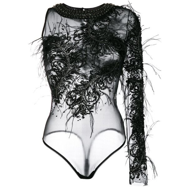Amen sheer embellished bodysuit ($1,693) ❤ liked on Polyvore featuring intimates, shapewear, bodies, tops and black