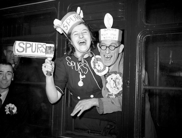 Spurs fans at Euston on the way to the FA cup semi final against Blackpool in 1948.