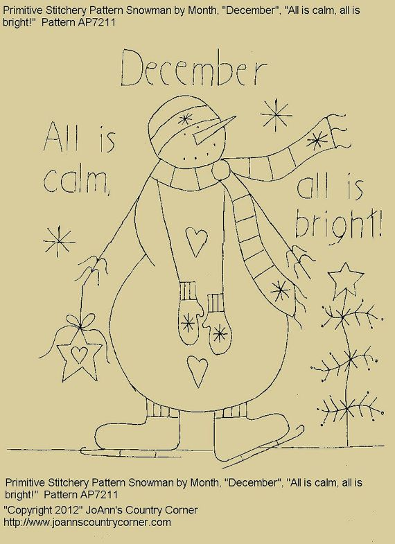 "Primitive Stitchery E-Pattern Snowman by Month ""December"", ""All is calm, all is bright!"" on Etsy, $2.00"