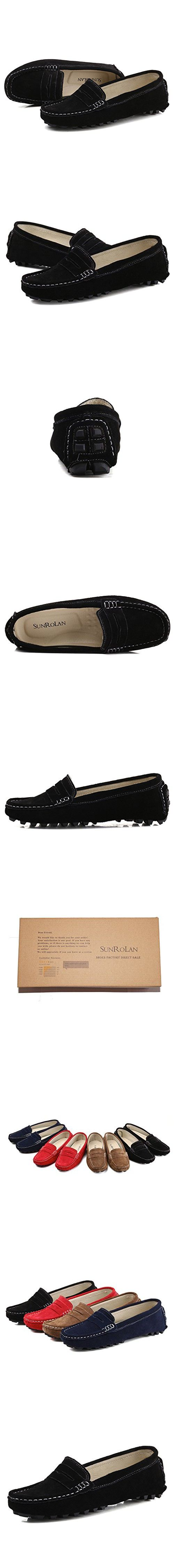 808-2hei10 SUNROLAN Rebacca Women's Suede Leather Driving Moccasins Slip-On Penny Loafers Boat Shoes Flats Black 10 B(M) US