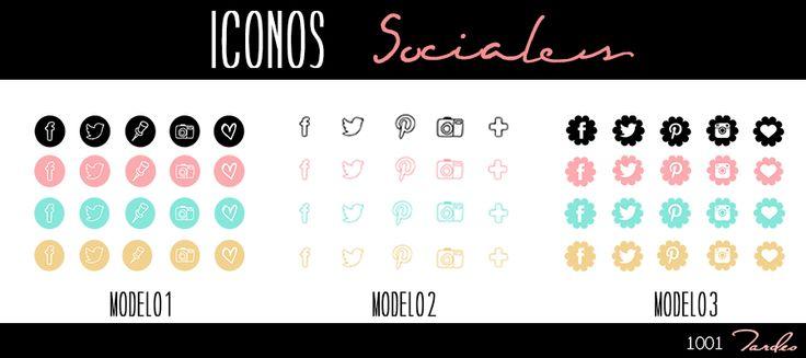 3 Modelos de Iconos Sociales Gratis en el blog http://1001tardes.blogspot.com.es/2014/10/iconos-sociales-i.html