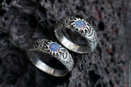 """Кольца ручной работы. Ярмарка Мастеров - ручная работа. Купить Парные кольца """"Гравитация"""", кольцо опал, кольцо из серебра. Handmade."""