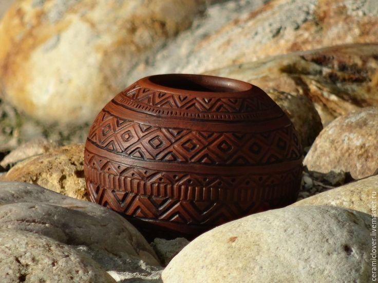 """Купить Калабас """"Завараживающая геометрия"""". - коричневый, калабас, матэ, керамика ручной работы, посуда из глины"""