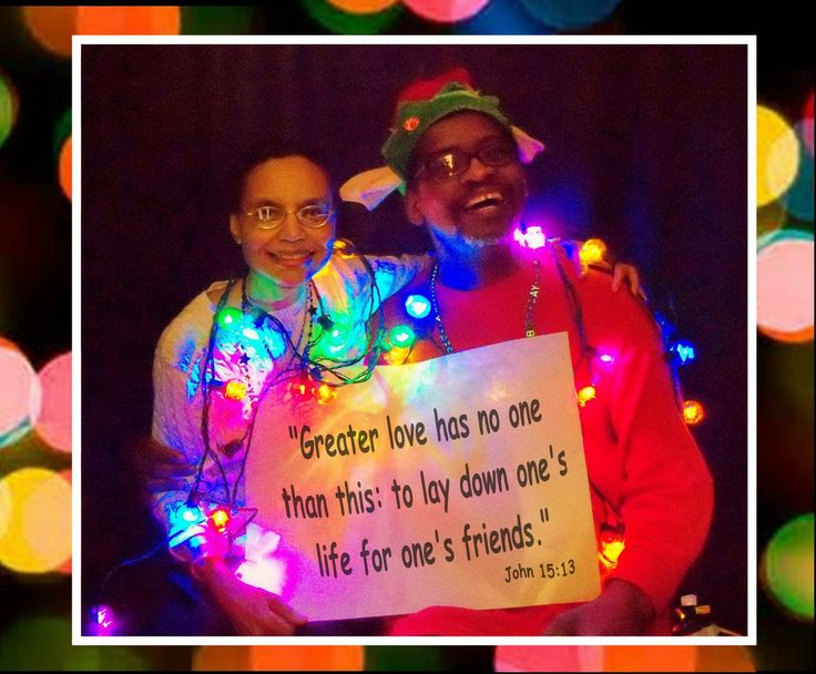 CHRISTMAS-GRAM #8 A message to the GLBT Community from Victoria (one of our pianists) and Art (our auxiliary percussionist) at New Beginnings Christian Church.  Our Christmas-Grams are holiday photos with a special, encouraging message to the Gay, Lesbian, Bisexual, & Transgender community. The pictures feature members and friends of New Beginnings Christian Church in Richmond, Virginia.  Photo taken in December of 2013.