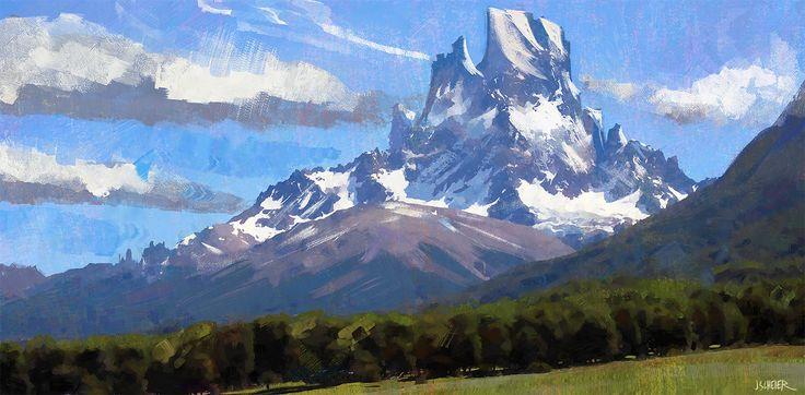 snowy mountain view, jason scheier on ArtStation at https://www.artstation.com/artwork/NVwnJ