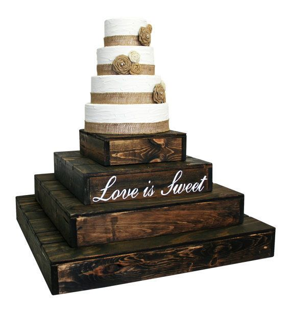 Rustic Wedding Cake Cupcake Stand 4 Tier Rustic Wooden Cake Cupcake Stand Walnut #CleoClassicDesigns