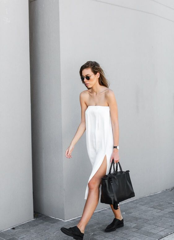 This kind of white strapless dress embodies everything that we look for in the