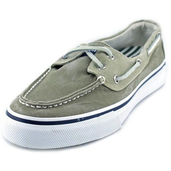 Sperry Top-Sider Sperry Top Sider Bahama Moc Toe Canvas Boat Shoe (€37) ❤ liked on Polyvore featuring men's fashion, men's shoes, men's loafers, green, shoes, mens boat shoes, sperry mens shoes, sperry top sider mens shoes, mens canvas shoes and mens green shoes