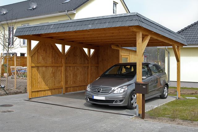 Carport with a flat roof
