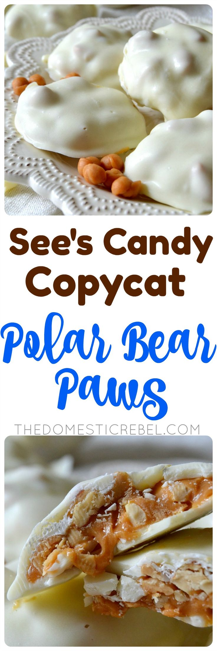 These POLAR BEAR PAWS taste even BETTER than the ones at See's Candy! Buttery caramel and crunchy, slightly salty peanuts are enrobed in sweet white chocolate for an addictive candy made start to finish in about 30 minutes! So easy and great for gift-giving! ~ The Domestic Rebel