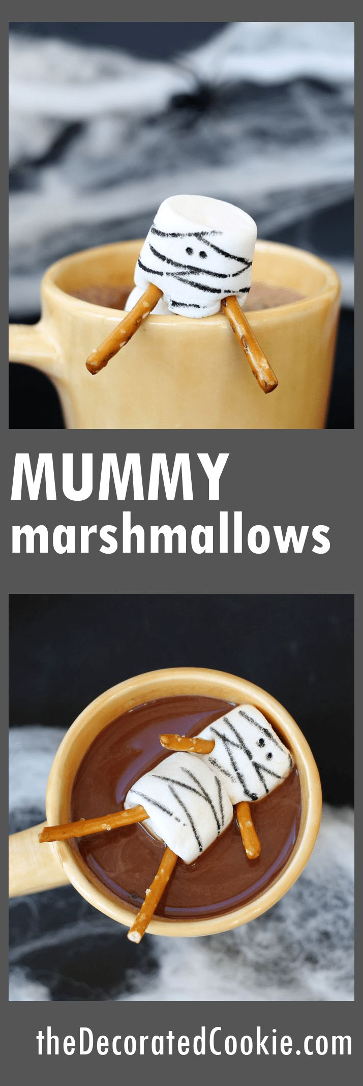 Easy, fun way to dress up Halloween hot cocoa: Mummy marshmallows!