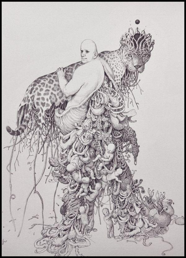 ballpoint pen drawings by Anton Vill, via Behance