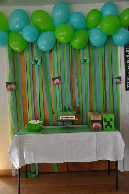 Cool backdrop at a Minecraft party! See more party ideas at CatchMyParty.com! #partyideas #tminecraft