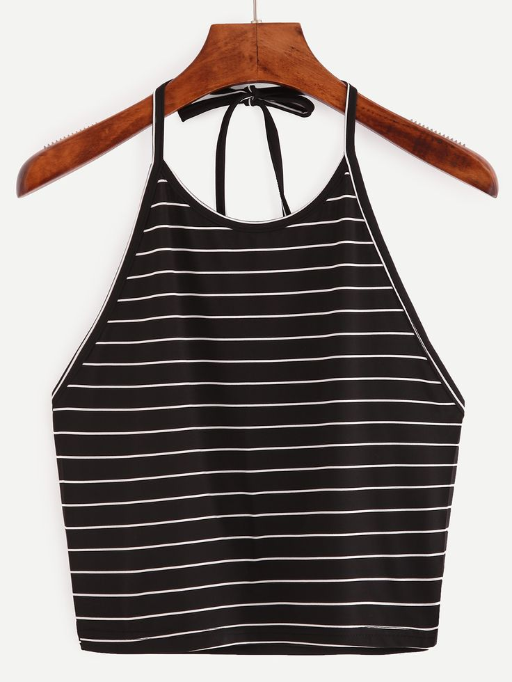 Online shopping for Halter Striped Cami Top from a great selection of women's fashion clothing & more at MakeMeChic.COM.