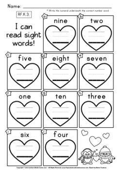FREE Heart Number Words Worksheet