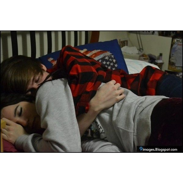 Hug, sleeping, couple, bed found on Polyvore | Couple bed
