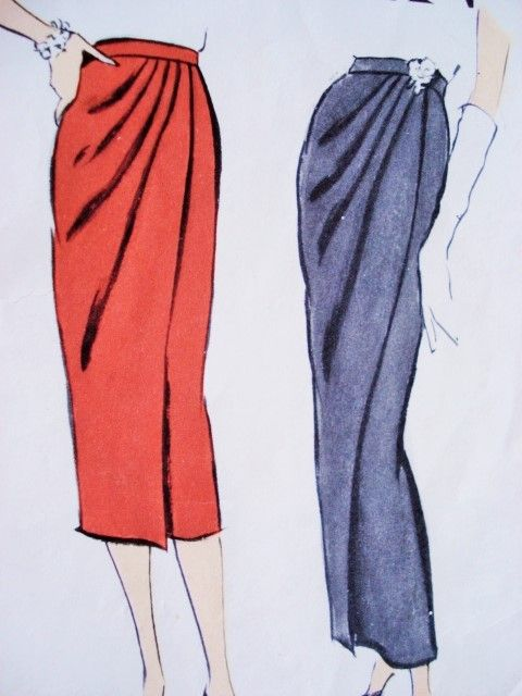 1950s Slim Draped Skirt Day or Evening Length Pattern Vogue 9436 Stunning Design Waist 32 Vintage Sewing Pattern FACTORY FOLDED