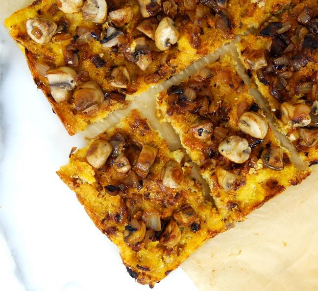 Vegan Polenta Onion PizzaHealthy Cooking, Polenta Onions, Boiled Water, Mushrooms Pizza, Vegan Recipe, Vegan Polenta, Kitchens And Gardens, Onions Pizza, Recess Kitchens And