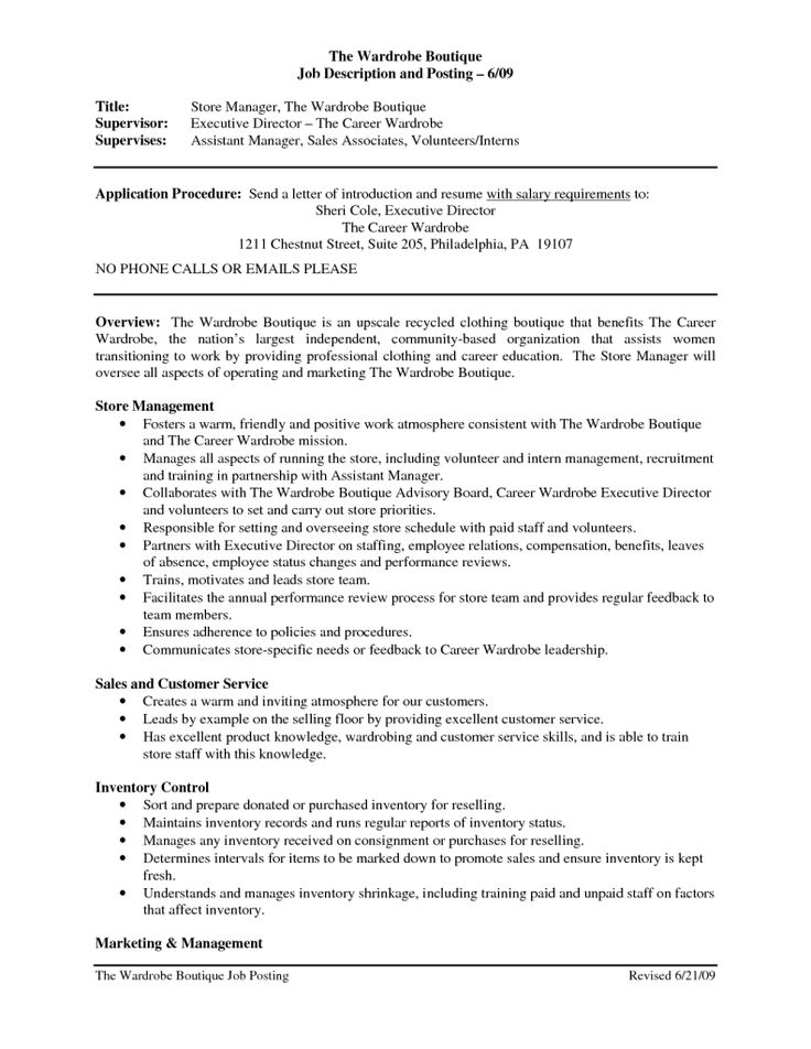 Die besten 25+ Sales job description Ideen auf Pinterest - retail resume cover letter