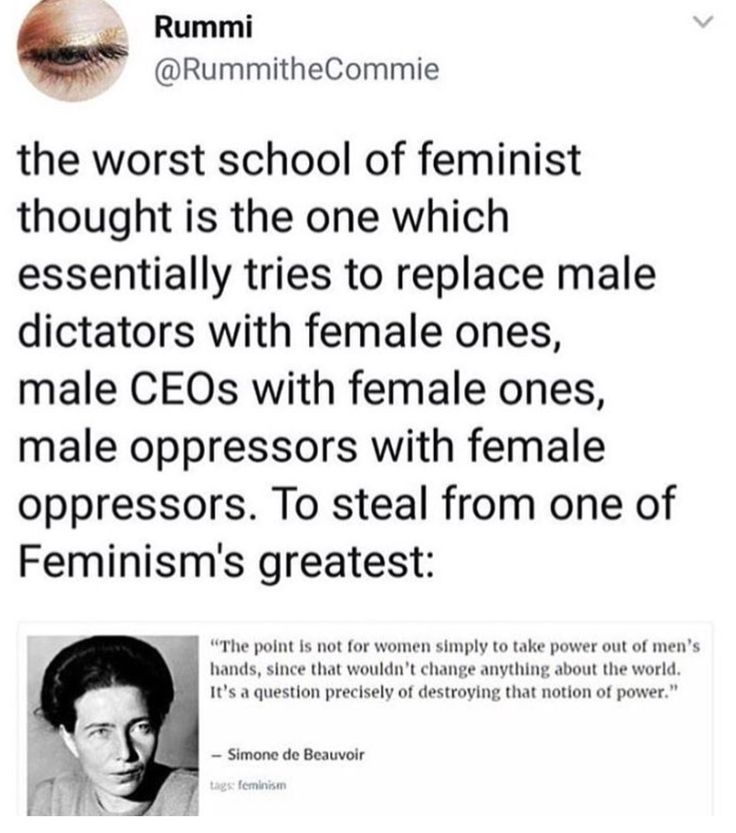 """The point is not for women to take power out of men's hands, since that wouldn't change anything. It's a question of DESTROYING that notion of power."" Reversing the order (female > male) would not achieve anything; just oppressive cycle after cycle. Which is why feminism constantly reiterates that men are not the enemy; patriarchy, outdated societal norms, are what we're questioning"