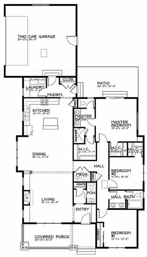 Bungalow Style House Plan - 3 Beds 2.5 Baths 1887 Sq/Ft Plan #434-6 Floor Plan - Main Floor Plan - Houseplans.com