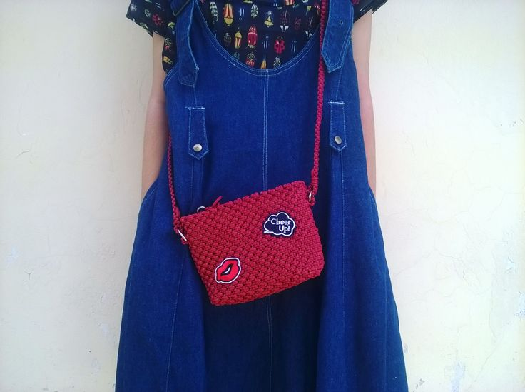 #talikur #tastalikur #macrame #macramebag #bag #slingbag #patches #red #fashionitem #style #mode