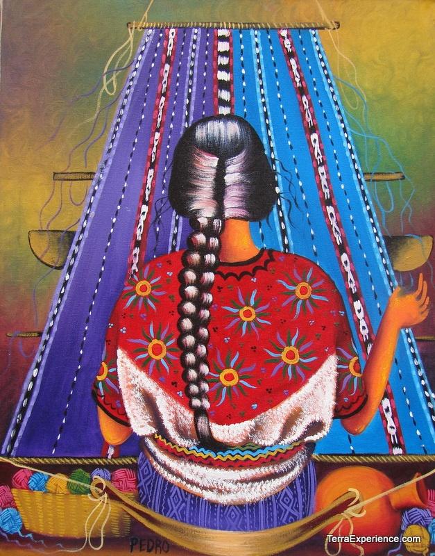 Mujer Tejedora De Azul Guatemala Pedro Sosoft Arte De