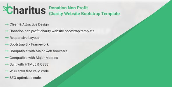 Charitus - Donation Non Profit Charity Website Bootstrap Template - profit template