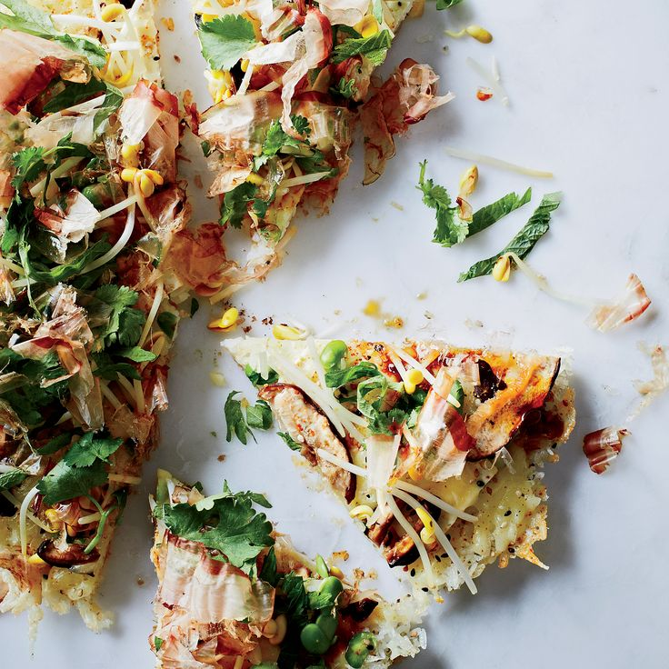 This crazy-fun recipe from chef Grant Achatz is a mash-up of two popular dishes: fried rice and pizza. His secret is crisping up the rice in the skillet, then sprinkling it with Manchego cheese and lots of Japanese toppings.