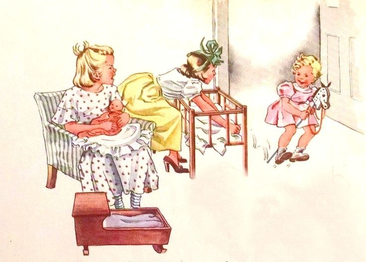 Dick And Jane Book Illustration Original Art by