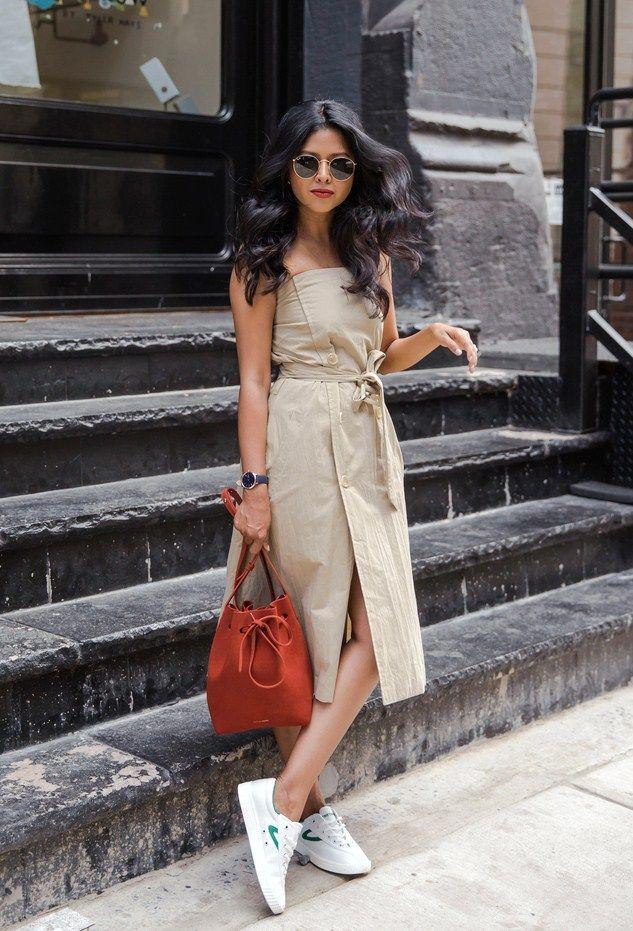 Sentimental Dress: Carly Trench Dress/ Shoes: Ny lites Sneakers / Bag: Mansur Gavriel Fashion Look by Sheryl Luke