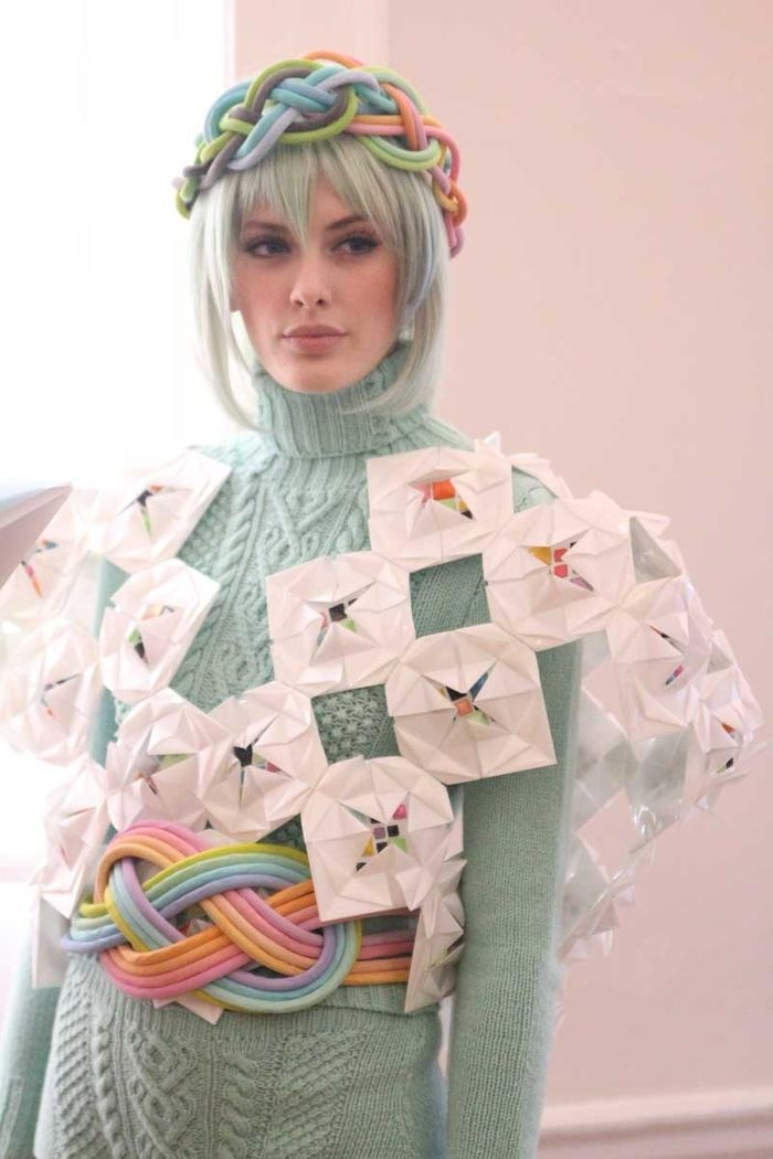 Fred Butler collab with knitwear company EDE. Knitwear and origami. I love London Fashion Week!