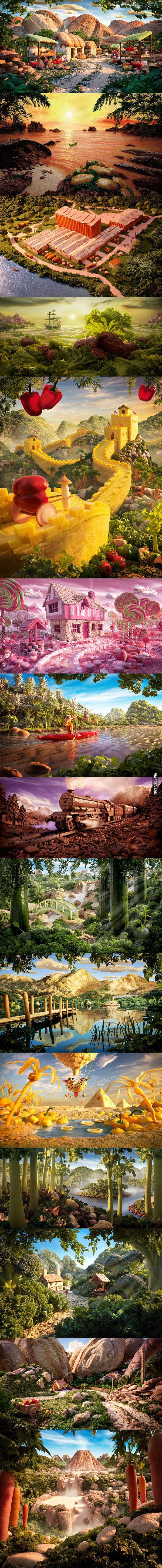 The Best Carl Warner Ideas On Pinterest Human Body - 15 fantasy landscapes entirely made from food