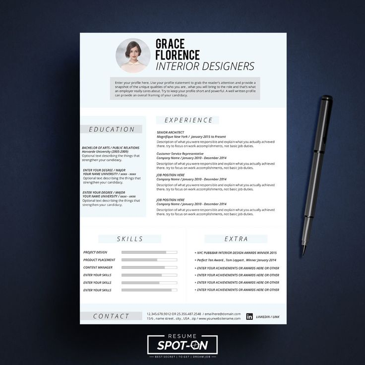 17 best Resume CV template by Spot-On Resume images on Pinterest - two page resume samples