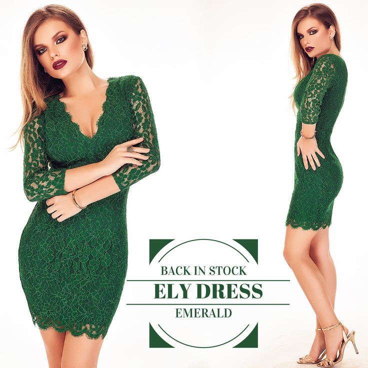 The emerald lace dress is back in stock: https://missgrey.org/en/dresses/short-lace-dress-with-long-sleeves-in-emerald-shades/421?utm_campaign=decembrie&utm_medium=rochie_ELY_verde&utm_source=pinterest_produs