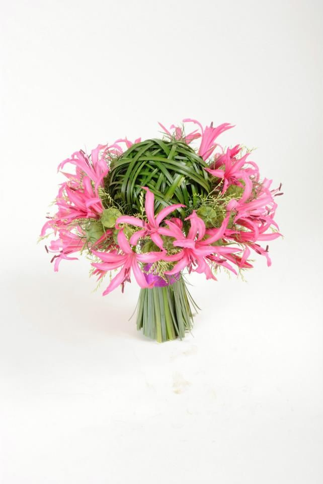 Pink nerine and grass bouquet.