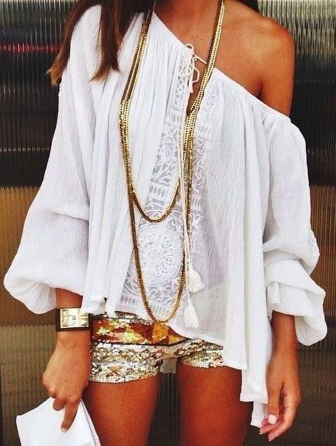 Lace And Sequins Summer Outfit
