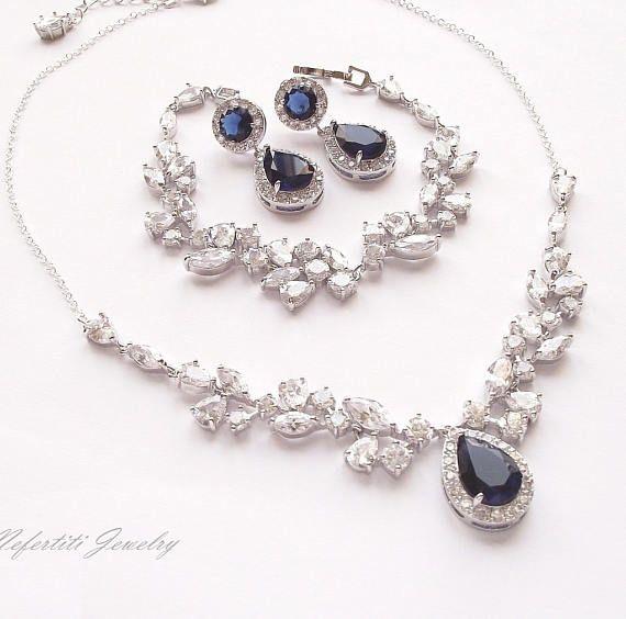 Saphire collar nupcial, collar de la boda de zafiro azul, zafiro joyería nupcial conjunto, joyería de la boda real azul, sistema de la joyería zafiro