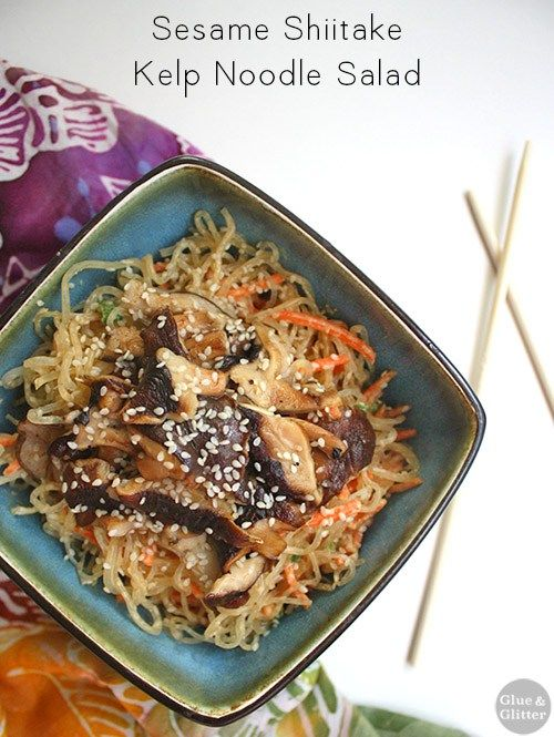 Kelp noodle salad with chilled noodles in creamy peanut dressing with hot-off-the-stove sesame mushrooms. The combination of flavors and textures is so nice!