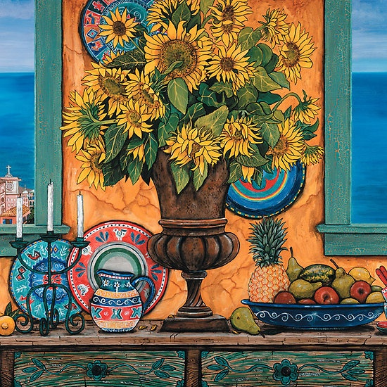 Still Life with Sunflowers & Italian Coast