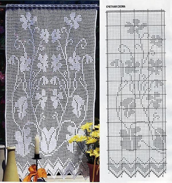 Filet crochet curtain chart
