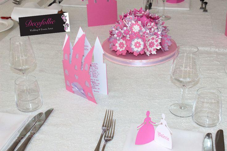 Centrotavola fiori in cartoncino menu castello e segnaposto principessa primo compleanno