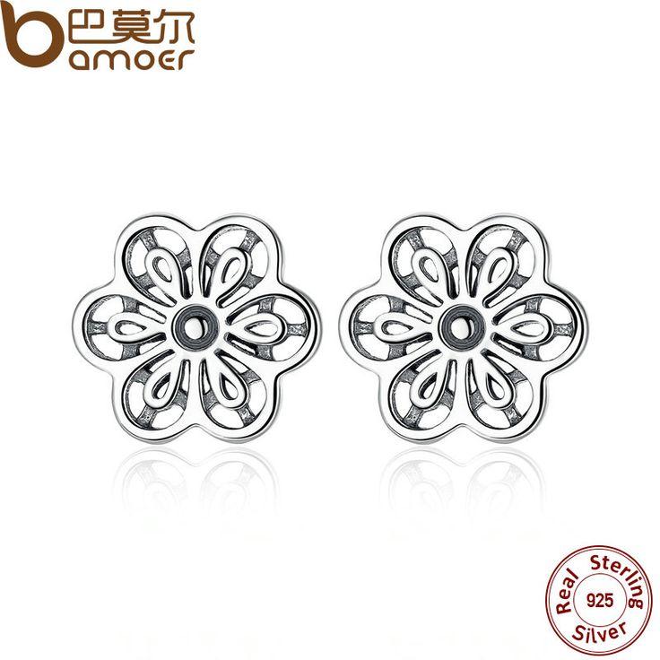 Bamoer 100% 925 sterling zilveren bloemen daisy kant bloem oorbellen voor vrouwen bruiloft fijne sieraden pas464