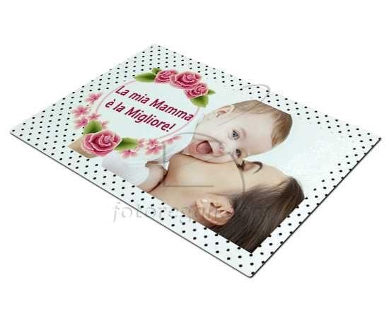 Tagliere rettangolare in vetro, personalizzato con foto e grafica per la #festadellamamma