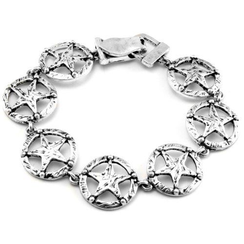 "Texas Lone Star Antiqued Silver Tone Link Bracelet 7.5"" Silver Insanity. $7.67. 7.5"" Long and 3/4"" Wide. Silver Tone Base Metal. Foldover Magnetic Clasp"