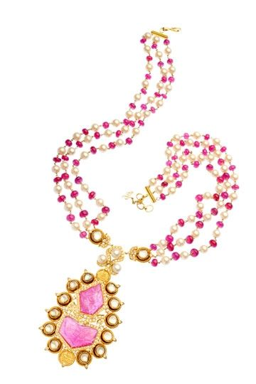 'Modern Mughals' carved ruby, ruby beads, pearls and uncut diamonds... Rewind to the days of Akhbar the Great, Shah Jahan, grand domed palaces and epic love stories