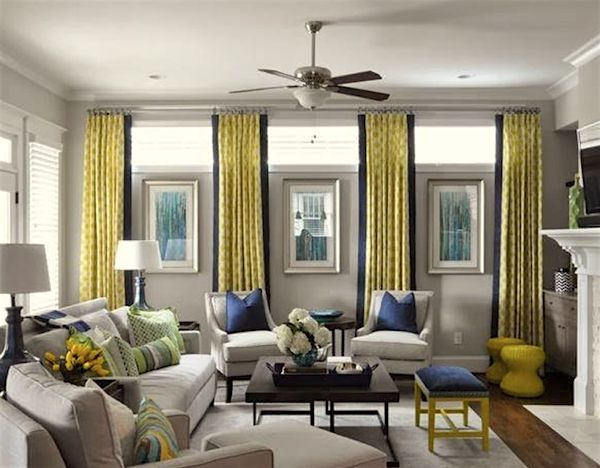 not these colors at all but the window treatment for the clerestory windows - Window Treatments For Small Living Rooms