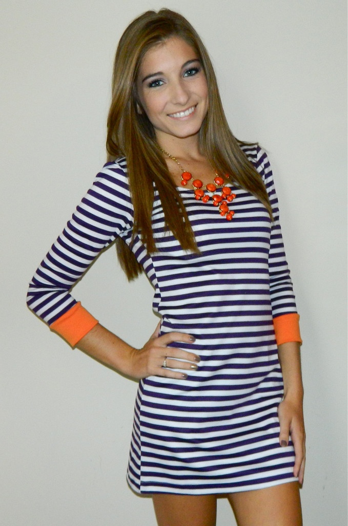 cute striped dress with warm accessories.