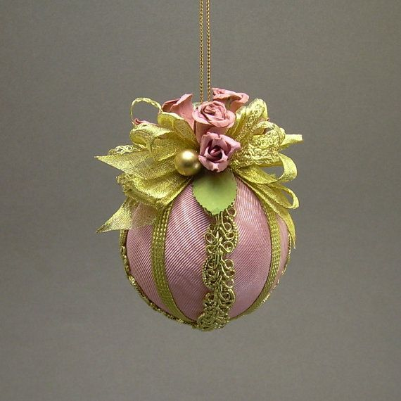 "Lori Bilodeau Christmas Ornament - Handmade Fabric Ball with Parchment Roses - ""Avon Lady"""